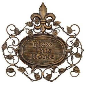 Image detail for -... This Home Embossed Metal Wall Art Decor Sculpture Fleur De Lis Accent