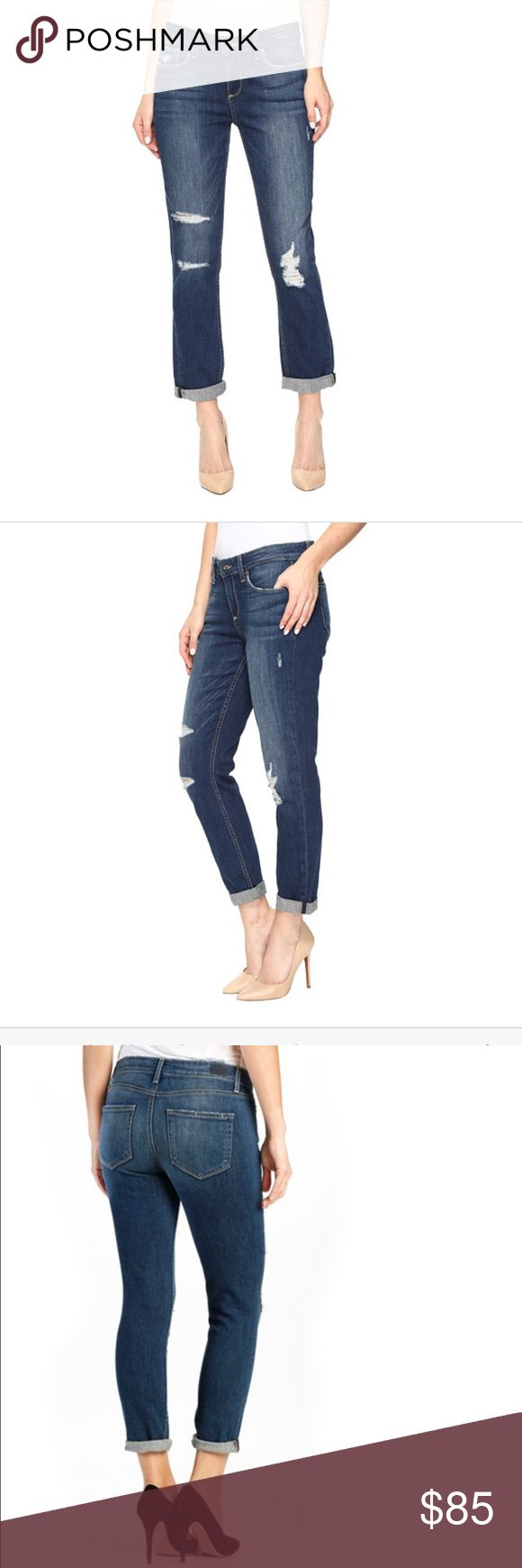 SUPER SALE‼️NEW Paige 👖 The Anabelle Slim The Anabelle Slim is a mid rise jean with a slimmer boyfriend silhouette. Five-pocket style and rolled leg opening. Lightly faded, dark indigo wash finished with an easy destructed pattern concentrated at the knees. Zipper fly and button closure. 98% cotton, 2% elastane. Machine wash cold, hang dry. Made in the U.S.A. and Imported. Paige Jeans Jeans