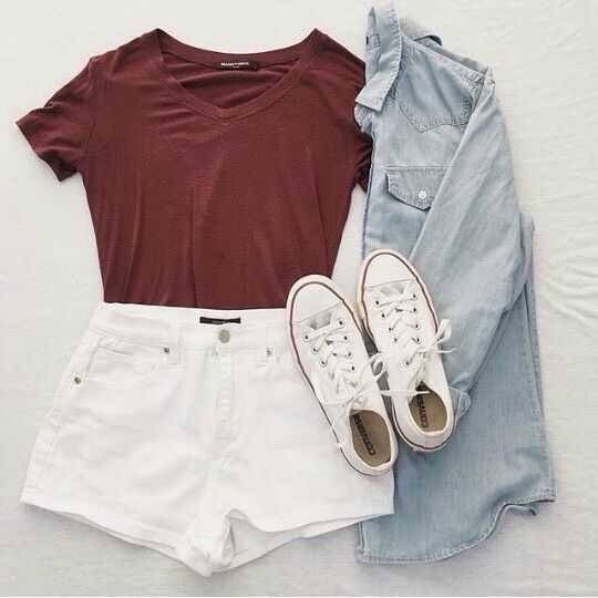 Burgundy Shirt and White Shorts with Denim Shirt and White Converse