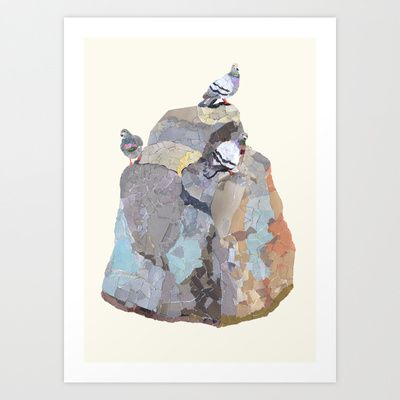 The Pigeon on a Rock Art Print by Shihotana