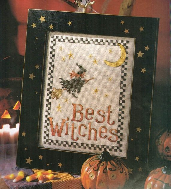 Vintage Halloween Witch on Broom Counted Cross Stitch Pattern Chart
