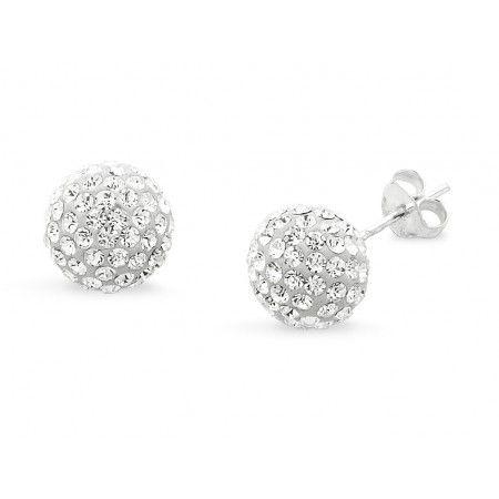 Sterling Silver Pave Crystal Ball Stud Earrings. Sku: SS109009