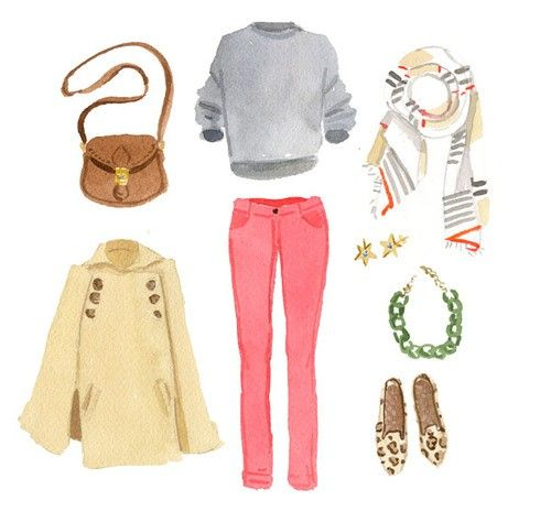 watercolor - fall 2011: Fall Clothing, Watercolor, Coral Pants, Fall Wardrobes, Pink Pants, Fall Outfits, Pink Jeans, Fall Weather, Leopards Flats
