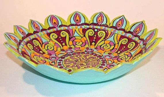 Large Mandala Bowls: Hand built carved kiln by agypsyteaparty