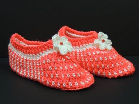 Crochet: Pantuflas (Talla # 7) - YouTube
