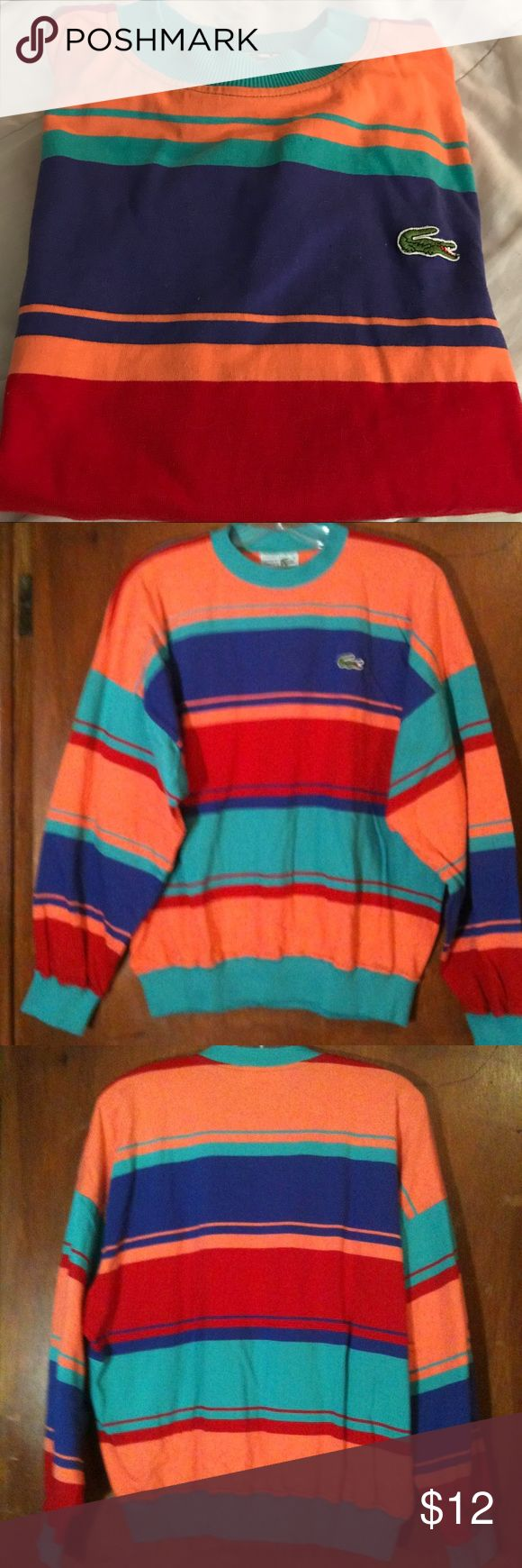Men's Pullover Shirt Pullover Shirt for Men, if you love bright colors, this is the shirt for you. Multicolored stripes, Large, excellent condition Chemise Shirts