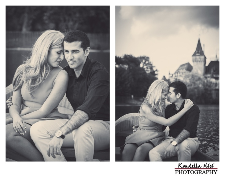 Budapest engagement session photography in a boat black and white