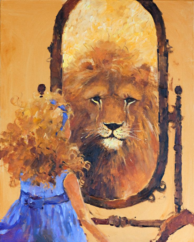 Lion in the Mirror 24x30 — Marilyn Simandle, Artist