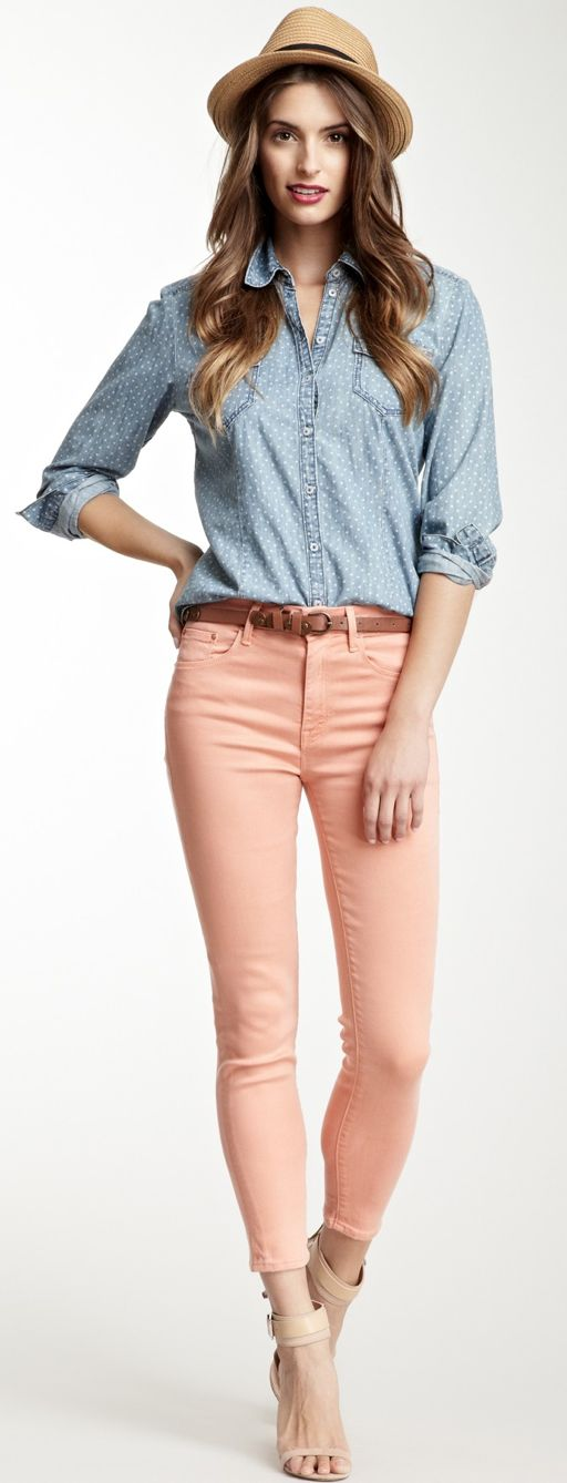 Chambray + peach - cute spring outfit I need a chambray shirt!!