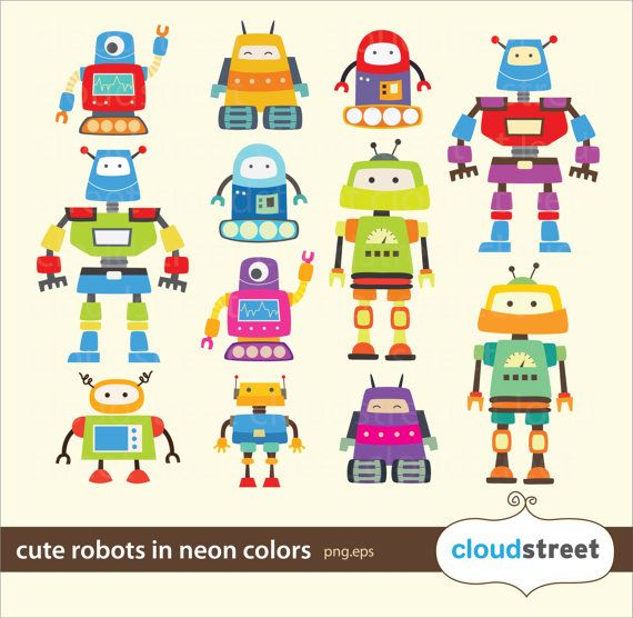 20% OFF Cute Robots Clipart in neon for personal and