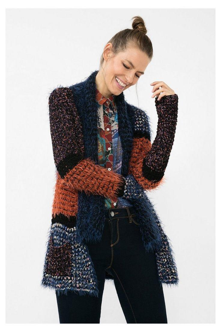 Cárdigan con patchwork azul - Adriana | Desigual.com 5000