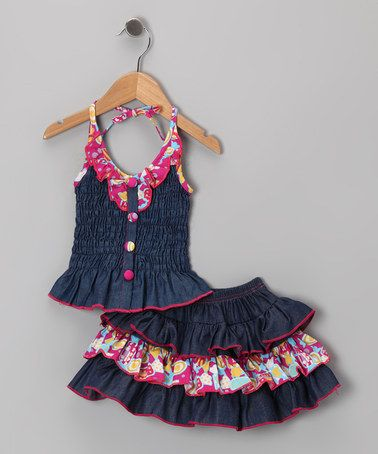 Take a look at this Pink Denim Floral Ruffle Halter Dress - Toddler & Girls by Lele Vintage on #zulily today!
