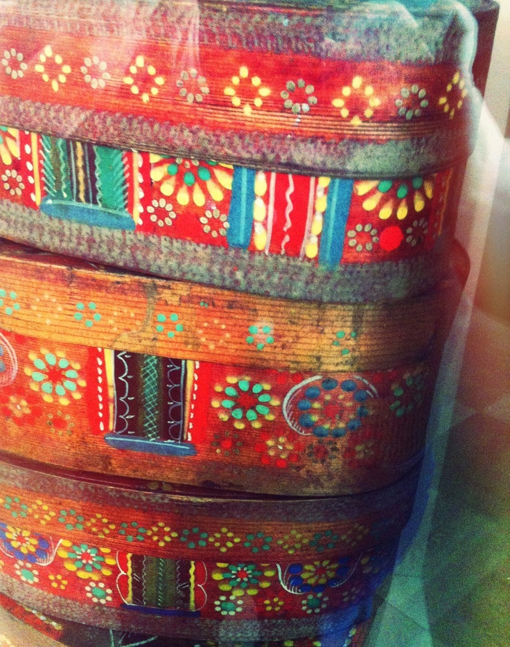 Painted Wooden Boxes.