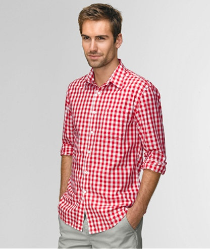 Red gingham dress shirt men style fashion want for Men s purple gingham shirt
