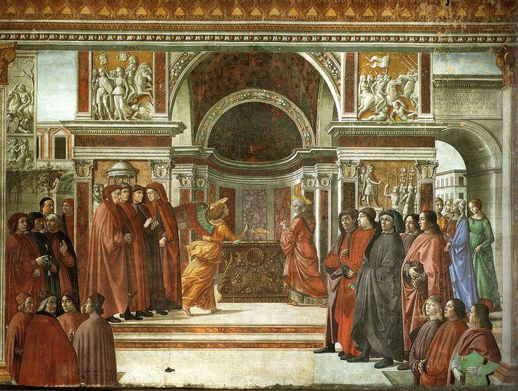 Domenico Ghirlandaio - parete di destra - Storie di San Giovanni Battista -  01, Annuncio dell'Angelo a Zaccaria - affresco - 1486-90 - Cappella Tornabuoni - Basilica di Santa Maria Novella, Firenze