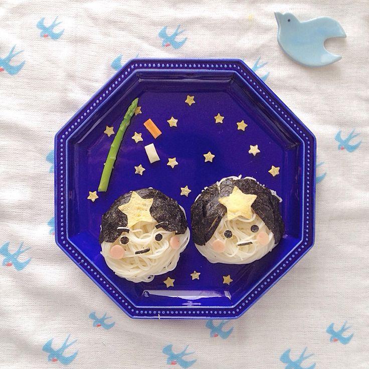 なほ's dish photo 七夕素麺プレート | http://snapdish.co #SnapDish #乾めんデー(7月7日) #そうめん #キャラ弁 #離乳食/幼児食 #七夕
