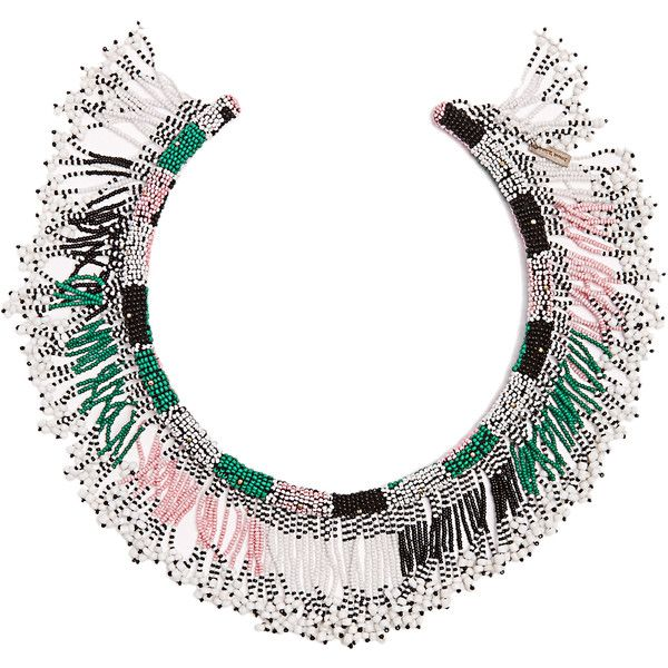 Isabel Marant Ska beaded choker (1.650 BRL) ❤ liked on Polyvore featuring jewelry, necklaces, summer necklace, beaded fringe necklace, beaded choker necklace, beading jewelry and isabel marant jewelry