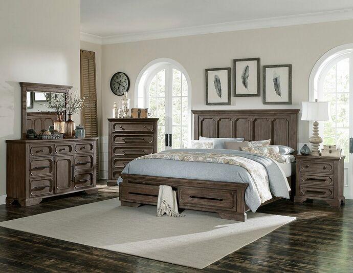 Homelegance 5438 5pc 5 Pc Toulon Wire Brushed Distressed Dark Oak Finish Wood Bedroom Set Wood Bedroom Sets King Bedroom Sets California King Bedroom Sets