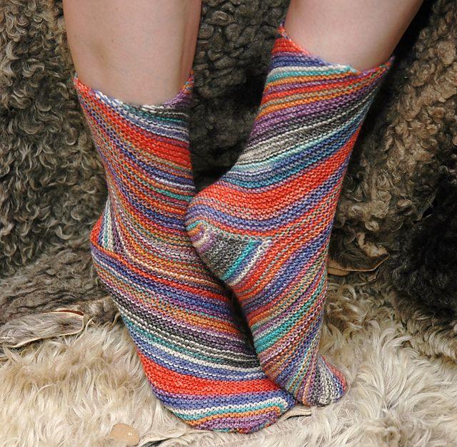 Free - Garter stitch on the bias socks - Ravelry: Exotic Whirlpool pattern by Natalia Vasilieva