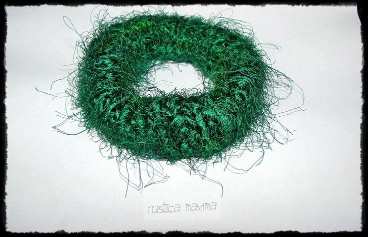 hand-knitted recycled sari silk bracelet http://www.facebook.com/rusticamaxima