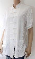 Weißes Leinenshirt Größe asiatischer Stil Größe 40 42 L Leinenhemd #BRR