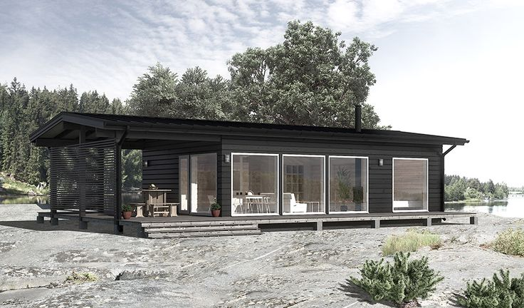 Modern scandinavian wooden house in seaside.