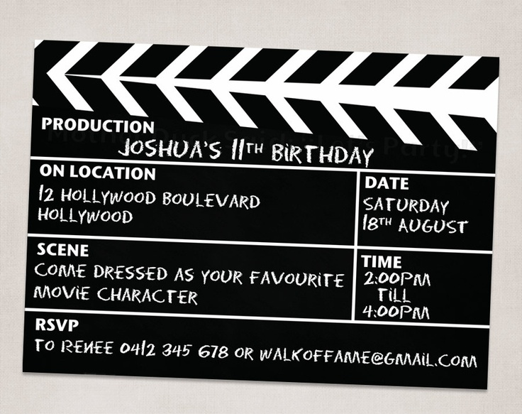 Movie+Night+Clapper+Board+Birthday+Party+by+motherducksaid+on+Etsy,+$10.00