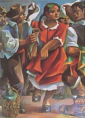 La Cueca. Pedro Olmos. Colección Pontificia Universidad Católica de Chile.