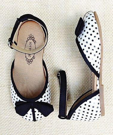 Black & Cream Polka Dot Ankle-Strap Flat by Joyfolie on #zulily today!