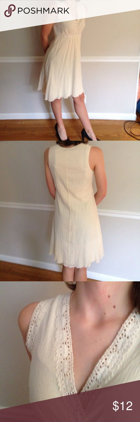 Violet brand cream summer dress Cream colored summer dress, light and airy. Crocheted lace trim. Great condition. Violet Dresses Midi