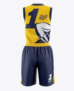 Women's Full Basketball Kit with V-Neck Jersey Mockup - Back View