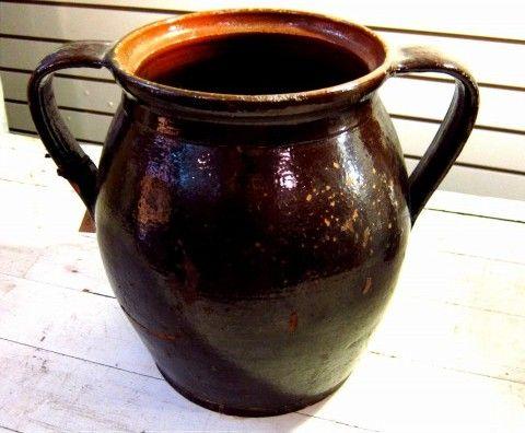 Beautiful Original Antique Hungarian Large Pot With Handle Dark brown glazed
