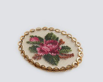 Floral needle point brooch, Gold toned needle point brooch, Unsigned