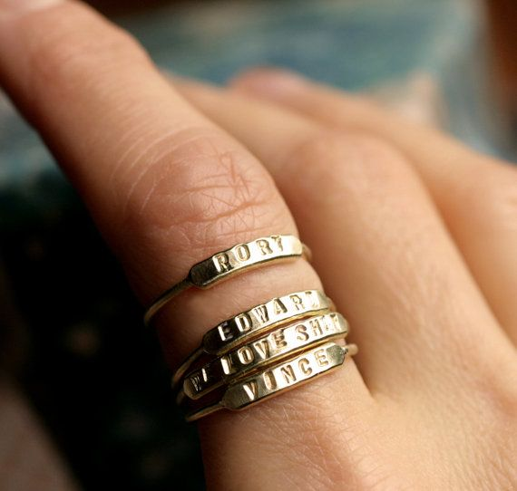 stackable name ring initial ring silver id ring gold by museglass