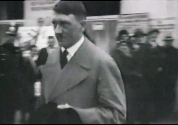 March, 1932 in Munich. Hitler carries his black hat