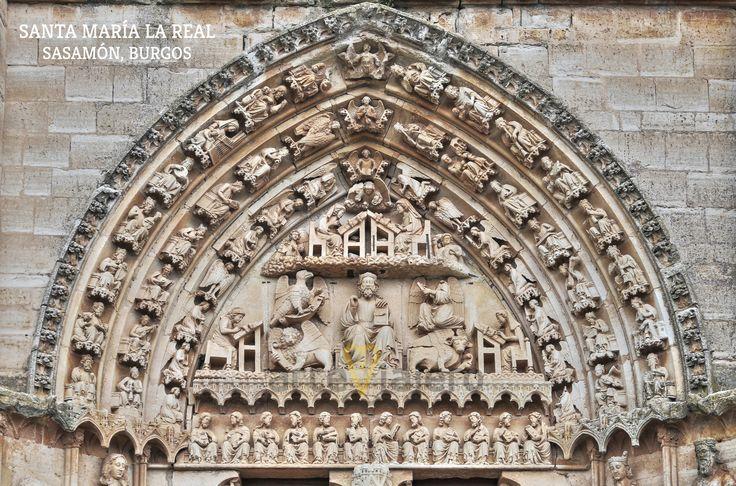 Tímpano gótico de la portada meridional de la Colegiata de Santa María la Real, Sasamón, Burgos http://arteviajero.com/