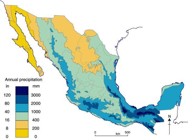 Annual precipitation of Mexico - Vivid Maps | Mexico | Map ...
