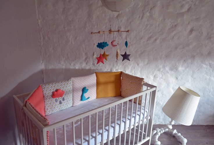 Tour de lit b b collection 39 mon chat cloud 39 rose corail - Tour de lit bebe bleu turquoise ...