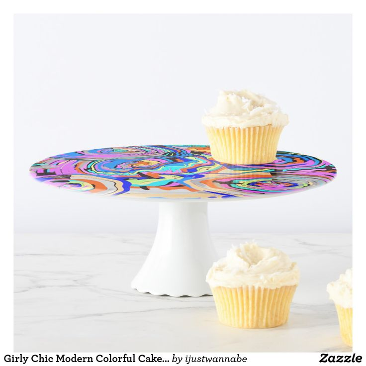 Girly Chic Modern Colorful Cake Stand. Fast shipping Worldwide. Own this Girly Chic Modern Colorful Cake Stand NOW! Great addition to any Special Occasion and any home. I have matching Paper Plates in 7 inch and 9 inch size that match this lovely Modern Multicolored Original Art Design.  Pattern matches every color you choose for a Special Occasion or have in your home decor. 30 Day Money Back Guarantee.  By artist RjFxx - Winner of 237 Art Awards *All rights reserved #elegnatcakestands