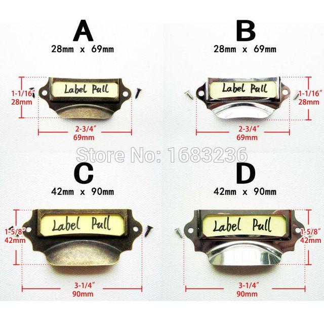 6x Antique Brass Vintage Silvery Metal Label Pull Frame Handle File Name Card Holder For Furniture Cabinet Drawer Box Case Bin