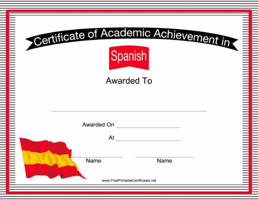 Second language teachers can use this free, printable certificate of academic achievement as an award for Spanish students. Free to download and print