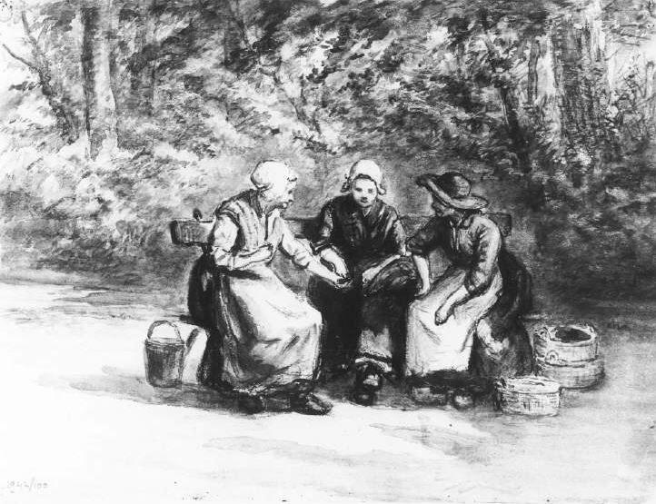 Twintigste-eeuwse Scheveningse dracht. Drie vrouwen zitten op een bank in het bos. Ze dragen een omslagdoek, jak en rok met schort en klompen. De twee linkervrouwen dragen een witte muts, de rechtervrouw draagt een vishoed over haar muts. Naast hen staan vismanden van verschillende grootte. 1940 Tekening met krijt #ZuidHolland #Scheveningen