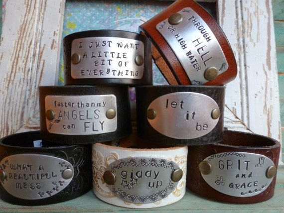 CUSTOM HandStamped Leather Cuff Bracelets  by BellaNotteDesigns, $35.00
