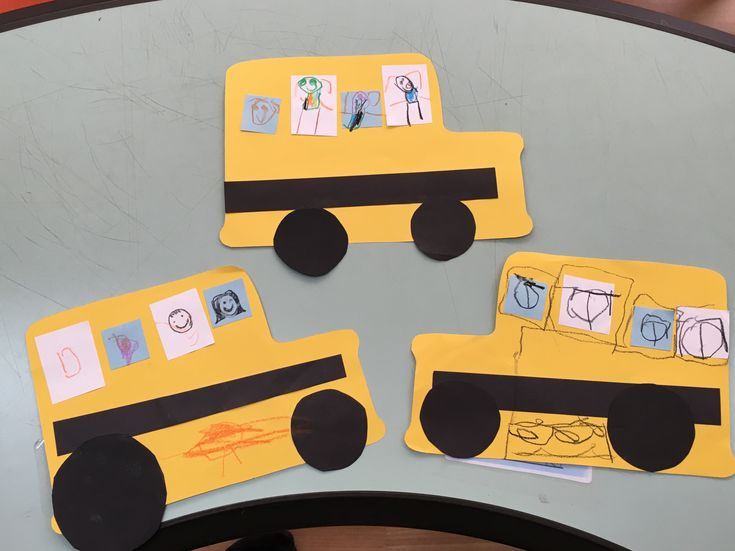 "Super simple bus suitable for Pre-K kids to doodle on! Also a great excuse to sing ""The Wheels on the Bus go round and round…""  You may need: Yellow construction paper …"