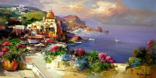 Mario Smeraglia, Positano MS1, olio su tela 60x120 cm.