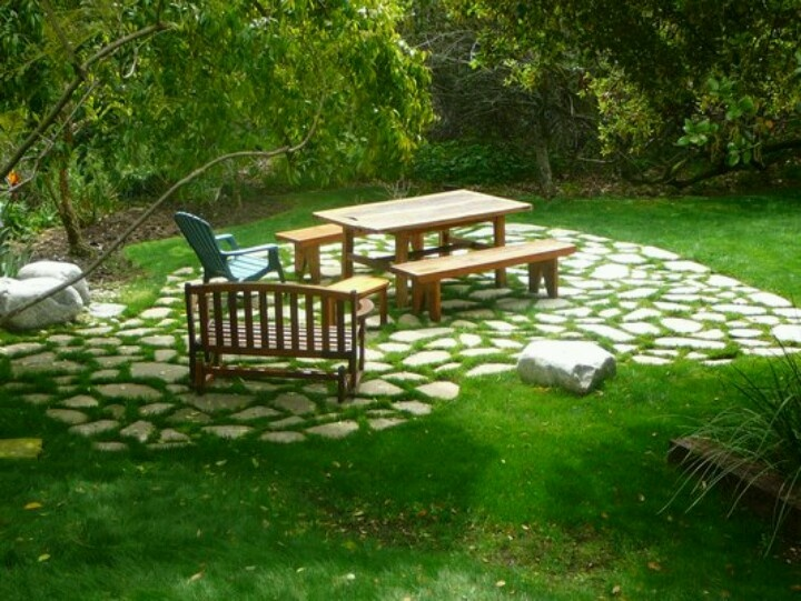 Flagstone Patio With Grass