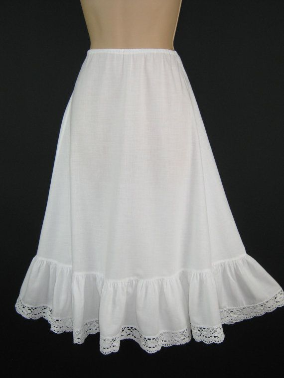 LAURA ASHLEY Vintage White Cotton Crochet Lace Petticoat / Underskirt, Medium (Made in Wales)