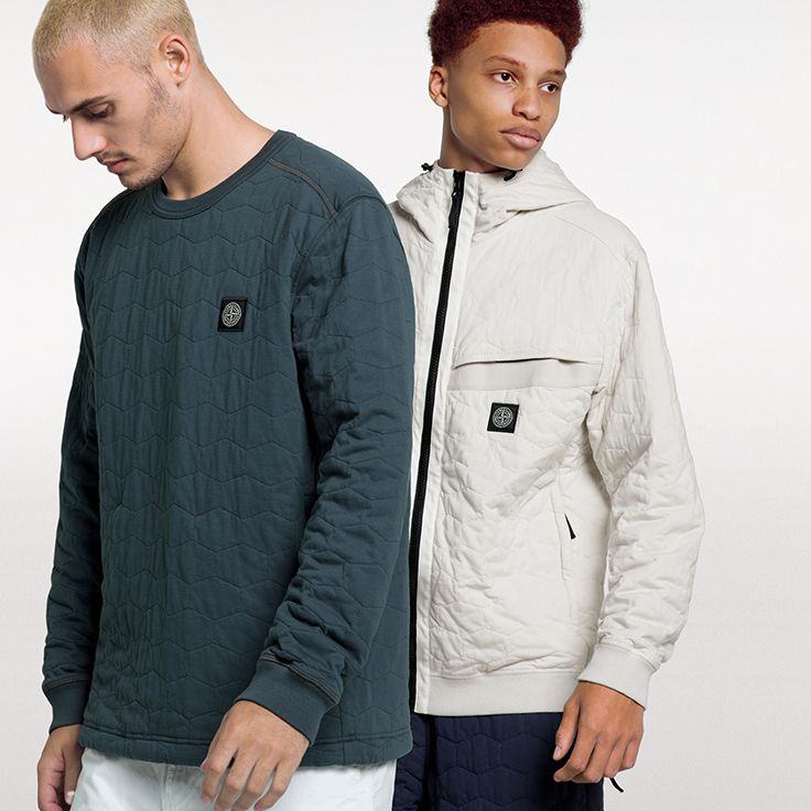 Stone Island SS '018 _ Sweatshirts in Cotton Jersey padded in wadding and quilted with Hexagonal motif on stoneisland.com