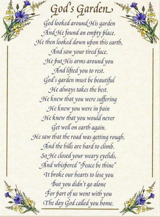 ♥God's Garden♥ | Quotes - In Memory of Loved Ones ...