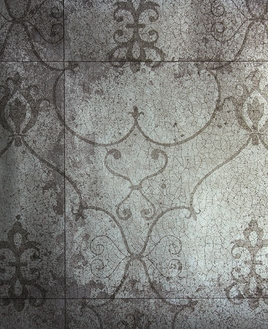 Rococo Mirror Wallpaper Silver Imitating Antique With Crackle Effect And Shadow Of Design
